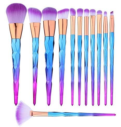 Pinceaux de Maquillage Set de 12 Pièces Premium Coloré Fondation Mélange Blush Yeux Visage Poudre Brosse Cosmétiques