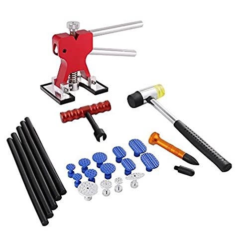 PDR Tools Kit - Dent Lifter with Glue Tab - PDR Hammer with Aluminum Tap Down - Dent Repair Tool25 Pcs Paintless Dent Removal Repair Tool Kits Dent Lifter with Dent Glue Puller Tabs for Car Body Dent