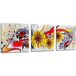 WEINICHIKUANG 3 Panel Paisaje Lienzo para Pintar, Marcos De Foto Pinturas, Listo para Colgar Cuadros Decoracion Salon Modernos, Margarita Floreciente, 50X70cmX3