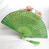 XIAOHAIZI Ventaglio Pieghevole Manuale,Verde 1Pcs Mano Matrimonio Ventilatore Fragrante Partito Intagliato bambù Pieghevole Intagliato Cava Fan Vintage Fiore Cinese Stampa in Legno
