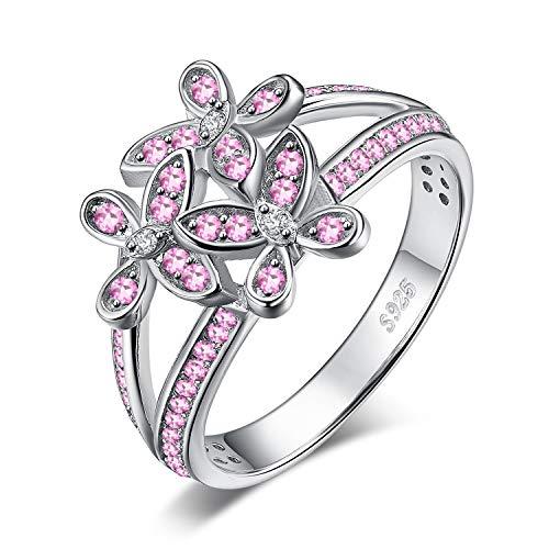 737fb1f2999d JewelryPalace Anillo declaración Mariposa Flor Zafiro Rosa Creado plata de ley  925