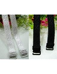 EQLEF® 2 pares 18mm ancho hombro Jacquard correas del sujetador elástico ajustable Blanco Negro