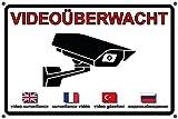 Videoüberwachung | Videoüberwacht | Achtung Video | Aufkleber | Schild | Warnung Video | Hinweis Video (Schild 3mm mit Eckbohrungen, 30 x 20cm)