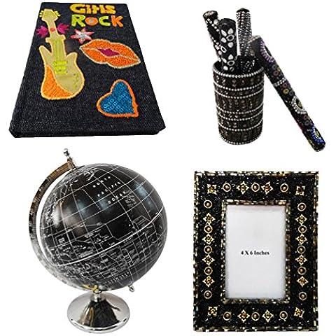 regalo di natale molto Globo decorativo, cornice per foto, vaso penna, diario artigianale tavolo materiale topper insieme multicolore casa arredamento di 4 pezzi - Nero Monili Di Nozze Insieme