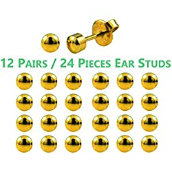 F-O-M Ear Piercing Studs Made From 316L Surgical Steel Sterile For Ear Piercing Gun(12 piece=24 piece)