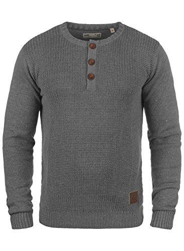 !Solid Terrance Herren Strickpullover Feinstrick Pullover Mit Rundhals Und Knopfleiste, Größe:L, Farbe:Grey Melange (8236)
