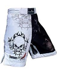 TurnerMAX MMA Shorts Negro Blanco sublimación Pequeño