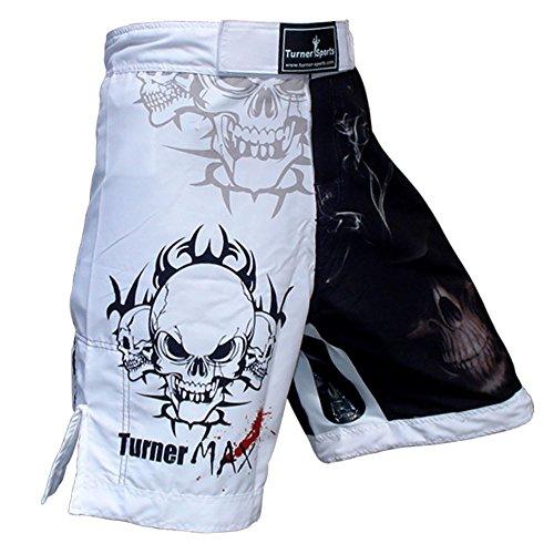 TurnerMAX MMA Shorts Negro Blanco sublimación Medio