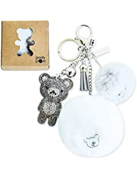 Poofy Pom Teddy Bear White And Pewter Keychain