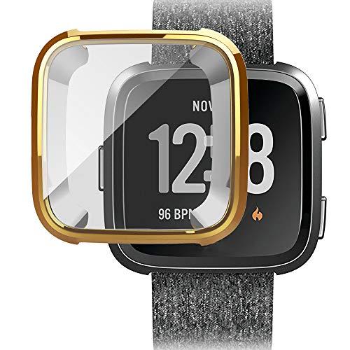 Cywulin Displayschutzfolie für Fitbit Versa Slim Soft TPU Case Shield Film Full Around Protective Cover Scratch Proof Transparent HD Clear Bumper Frame Shell Sport Zubehör Damen Herren Gold Gold