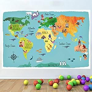 LagunaProject Mapa del mundo culturas Guardería pegatina infantil niños dormitorio pared de vinilo pegatinas cartel -120cm x 80cm