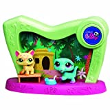 Littlest Pet Shop - 2-in-1 Pet Spotlight - Super Light-Up Scene Playset Jungle / Beach - mit getigerte Katze #1869 & Krokodil #1870 - OVP