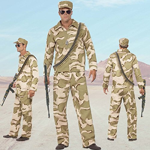 Army Kostüm Soldat Herren Bundeswehr Männerkostüm L 52/54 Tarnanzug Männer Uniform Soldatenkostüm Militär Faschingskostüm Armee Military Outfit