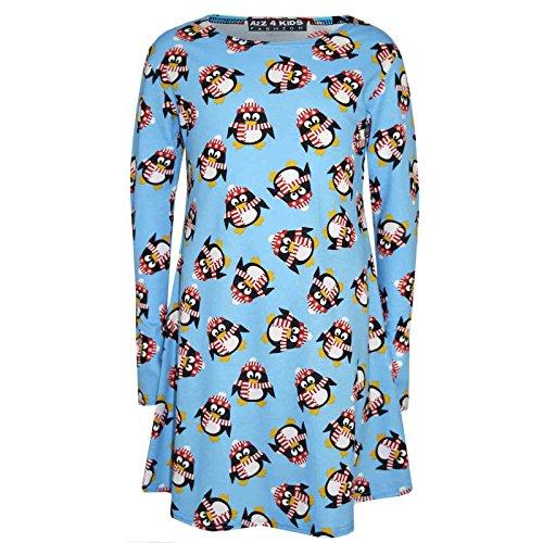 A2Z 4 Kids Kinder Mädchen Weihnachtskleid Santa Schneemann Pinguin Aufdruck Weihnachten Mode Kleider Mit Ein Kostenloses Weihnachten Orden Neu Alter 1-13 Jahre - Pinguin Blau, 9-10 Years (Schneemann Kinder Kleid)