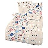 CMFashion Fein-Biber Bettwäsche Sterne Beige Blau 135x200 + 80x80 cm - Kinderbettwäsche