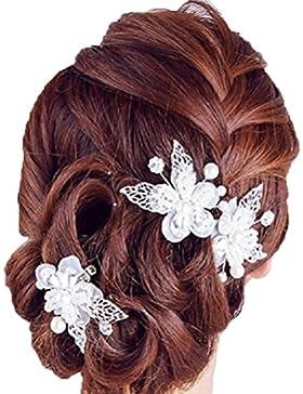 Haarspange Schmetterling 2-er Set Hochzeit Braut Tiara Perlen Strass Haargesteck Diadem Brauthaarschmuck