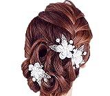 Barrette à cheveux Papillon Lot de 2mariage diadème de mariée perles strass Composition Florale pour cheveux diadème de mariée bijoux cheveux