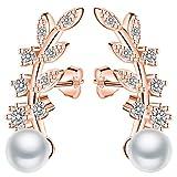 Infinito U-Elegante Pendientes Trepadores Color Oro Rosa Plata 925 Pendientes Perla Forma en Hojas Idea Regalo para Madre y Novia