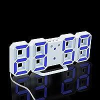 dingdangbell 3D Digital LED Uhr, Elektronische 24/12Stunde Display Wecker Tisch Schreibtisch NACHT Wand Uhr blau preisvergleich bei billige-tabletten.eu