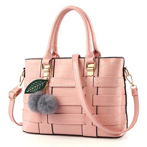 La Signora Messenger Bag Spalla Della Borsa Del Sacchetto Tessuto Tinta Unita Pink