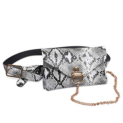 DORRISO Mode Elegant Damen Gürteltasche Leder Bauchtasche Kette Tasche Gestepptes Leder Clutch Bag Brieftasche Gürtel Weiß - Weiße Gesteppte