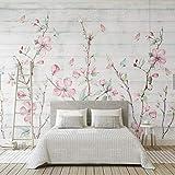 Rureng Bunte Sakura Oriental Kirschblüte Blume Wandbild Fototapete Wand Dekor Hand Malerei Floral Schmetterling Tapeten Roll-200X140Cm