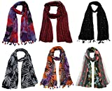#8: FusFus Women's Poly Cotton Combo Of 6 Scarves (Multicolor_Free Size)
