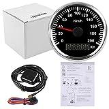 Wasserdichter GPS-Tacho- Kilometerzähler, Anzeige bis 200 km/h für Auto/Motorrad, mit Hintergrundbeleuchtung, 85mm, 12V/24V