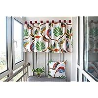 "Ustide cortina de Boho Bohemian exótico patrón cortinas cortina Rod bolsillo cocina niveles cortinas ventana tratamiento cortinas, algodón, lino, Offwhite, 55""W X 20""L"
