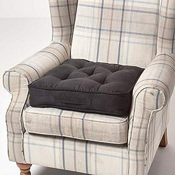 HOMESCAPES Coussin de Chaise à Motif écossais et Couleurs Bleu Vert Noir  Fait en 100% Coton de 50x50 cm pour Chaise de Salon et Chaise de Jardin