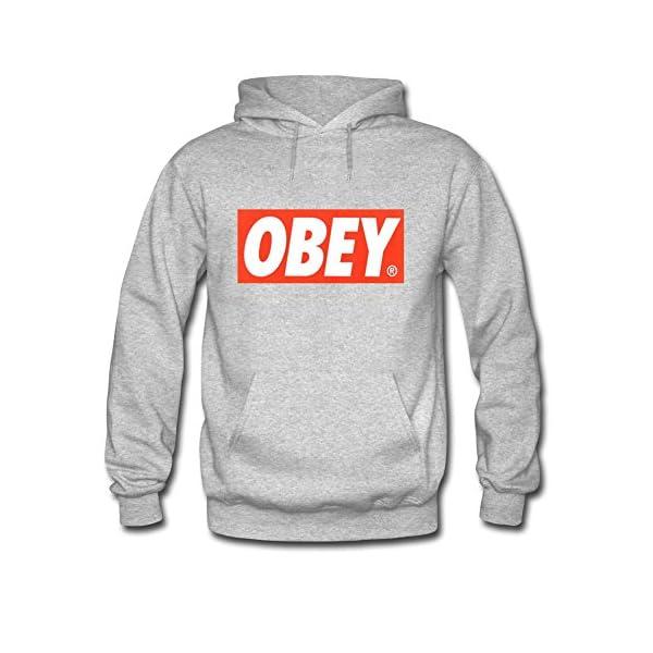 Grauer Obey Pullover mit Kapuze
