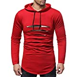 KPILP Herrenmode Herbst Winter Langarm-Shirt Patchwork Kapuzenpullover Top Bluse T-Shirt Outwear(Rot, L