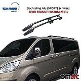 Dachreling Alu SCHWARZ (SPORT) für Ford Transit Custom 2013> mit TUV ABE