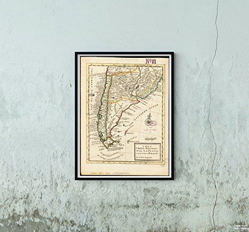 New York Map Company 1732 Karte Argentinien Patagonien von Chili, Patagonien, La Plata und Ihr Südteil Brasiliens Relief Shbänke Historische Antike Vintage Nachdruck fertig zum Rahmen. -