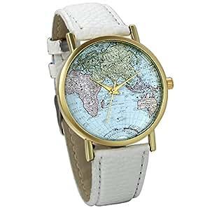 Jewelrywe orologio da polso retro vintage esfera mapamundi cinturino in pelle bianco, il regalo di Natale