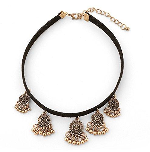 Preisvergleich Produktbild MSNHMU Ethnische Gypsy Schloss Charm Lätzchen Chunky Quaste Collar Opulente Halskette,Gold-L