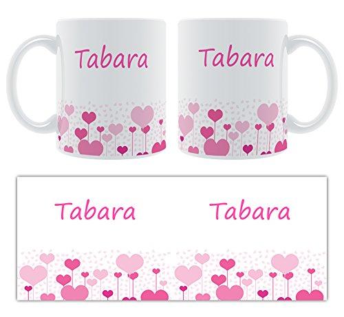 tabara Manteau – Motif cœurs – Femelle Nom personnalisable Mug en céramique