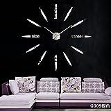 Aemember Wall Mount_Amazon Mirror Wall Clock Clock Wohnzimmer Wanduhr Diy Mute Großhandel, G009-Silber