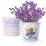46. Hochzeitstag Geschenk – Blumentopf (ø16cm)   Geschenkidee zur Lavendelhochzeit für Mann oder Frau mit Herz Bilderrahmen für 1 Foto (10x15cm)   Glücklich Verheiratet - 46 Jahre