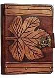 A Little Present - Funda para Kindle 4, 5, Kindle Paperwhite y Kindle (piel), diseño vintage con hoja, color marrón