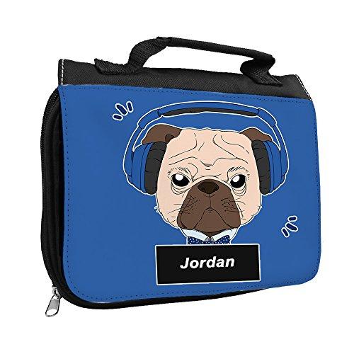 Kulturbeutel mit Namen Jordan und schönem Motiv - Mops mit Kopfhörer - für Jungen | Kulturtasche mit Vornamen | Waschtasche für Kinder