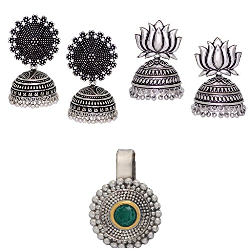 Fashion Honor 2 Pairs Silver Earrings & Green Nose Pin Jewellery Rakhi Gift For Her, Girl, Women, Mother, Sister, Girlfriend, Party Wear, Daily Wear