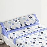 Burrito Blanco - Juego de sábanas Franela 545 para cama 120x190/200 cm, color azul