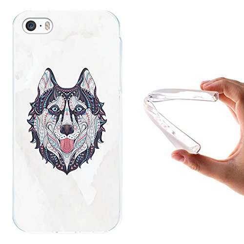 iPhone SE iPhone 5 5S Hülle, WoowCase Handyhülle Silikon für [ iPhone SE iPhone 5 5S ] Ethnischer Löwe Handytasche Handy Cover Case Schutzhülle Flexible TPU - Transparent Housse Gel iPhone SE iPhone 5 5S Transparent D0375