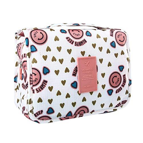 COOJA Bolsa de Aseo con Percha, Impermeable Bolsa Maquillaje Organizador Colgante Neceseres de Viaje Mujer con Compartimentos -Rosa