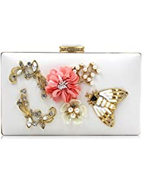 Ladies Fashion Pu Cocktail Handbag Pearl Floral Evening Clutch Bag With Metal Chain (White) By Mystic River