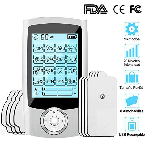 Electroestimulador Digital Portatil, Estimulador Muscular 16 Modos 2 Canales USB Recargable Masajeador...