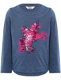 M&Co Girls Cotton Blend Navy Long Sleeve Crew Neck Two Way Sequin Unicorn Design T-Shirt