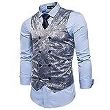 STTLZMC Elegante Herren Weste Formal Paisley Slim Fit Retro Stil Blazer,Grau,l