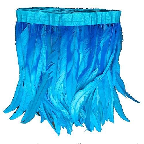 Koplight 5 Meter natürliche Hahnenfeder-Bordüre, Pony, 30,5-35,6 cm breit, DIY-Dekoration himmelblau/blau